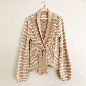 Anthropologie Sleeping on Snow Crochet Cardigan